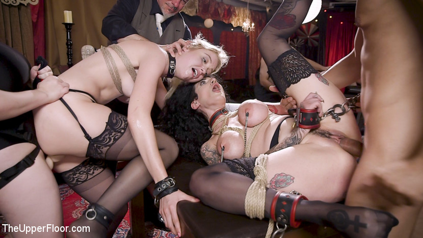 TheUpperFloor.com/Kink.com: Aiden Starr, Donny Sins, Chloe Cherry, Arabelle Raphael - Anal Sluts Tied Down for Service at BDSM Swinger Party [SD 540p] (738 MB) - November 2, 2018