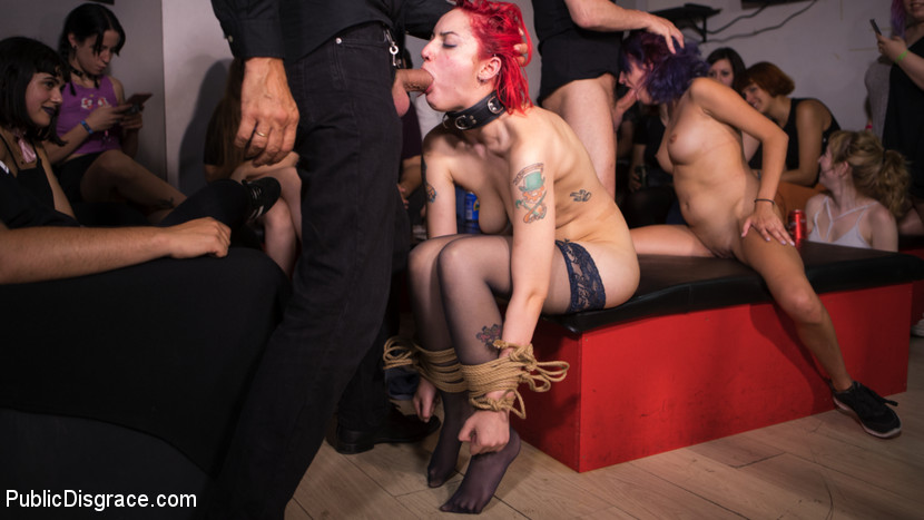 Publicdisgrace.com/Kink.com: Steve Holmes, Max Cortes, Silvia Rubi, Susy Blue, Margout Darko - Petite Natural Whore Shamed in Public and Gang Fucked in Rope Bondage! [SD 540p] (709 MB) - September 18, 2017