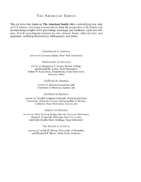 Boyhood in America An Encyclopedia 2 Volumes